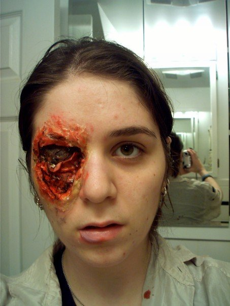 trauma, wound, sfx make up, special effects makeup, horror, gore, gouged eye, missing eye, liquid latex, wax