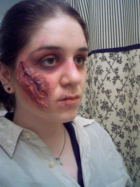 trauma, wound, sfx make up, special effects makeup, stitches, liquid latex