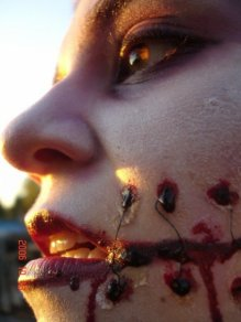 sfx makeup, special effects make up, horror, gore, trauma, wounds, prosthetic, latex, stitches, laceration, blood, slit mouth, close up