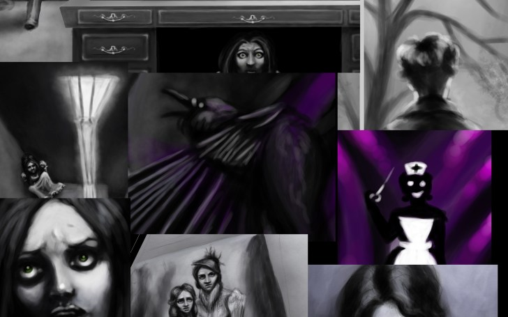 comic, panel, work in process, page, victorian dresses, crows, nurse, insanity