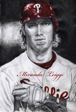 Philadelphia Phillies, portrait, baseball player, baseball, black and white, red