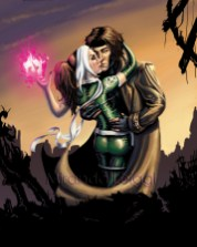 Rogue and Gambit, X-men, Marvel, Colored, Rubble, playing card, kiss