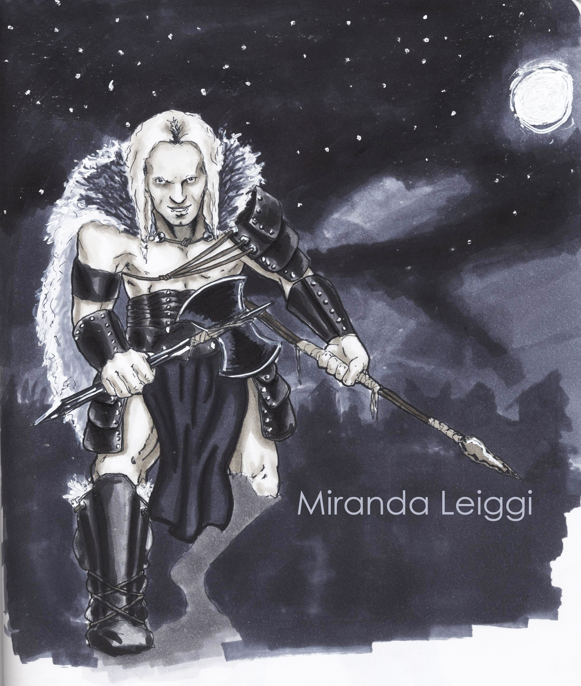 copic marker drawing, warrior, viking, barbarian, spear, axe, moon