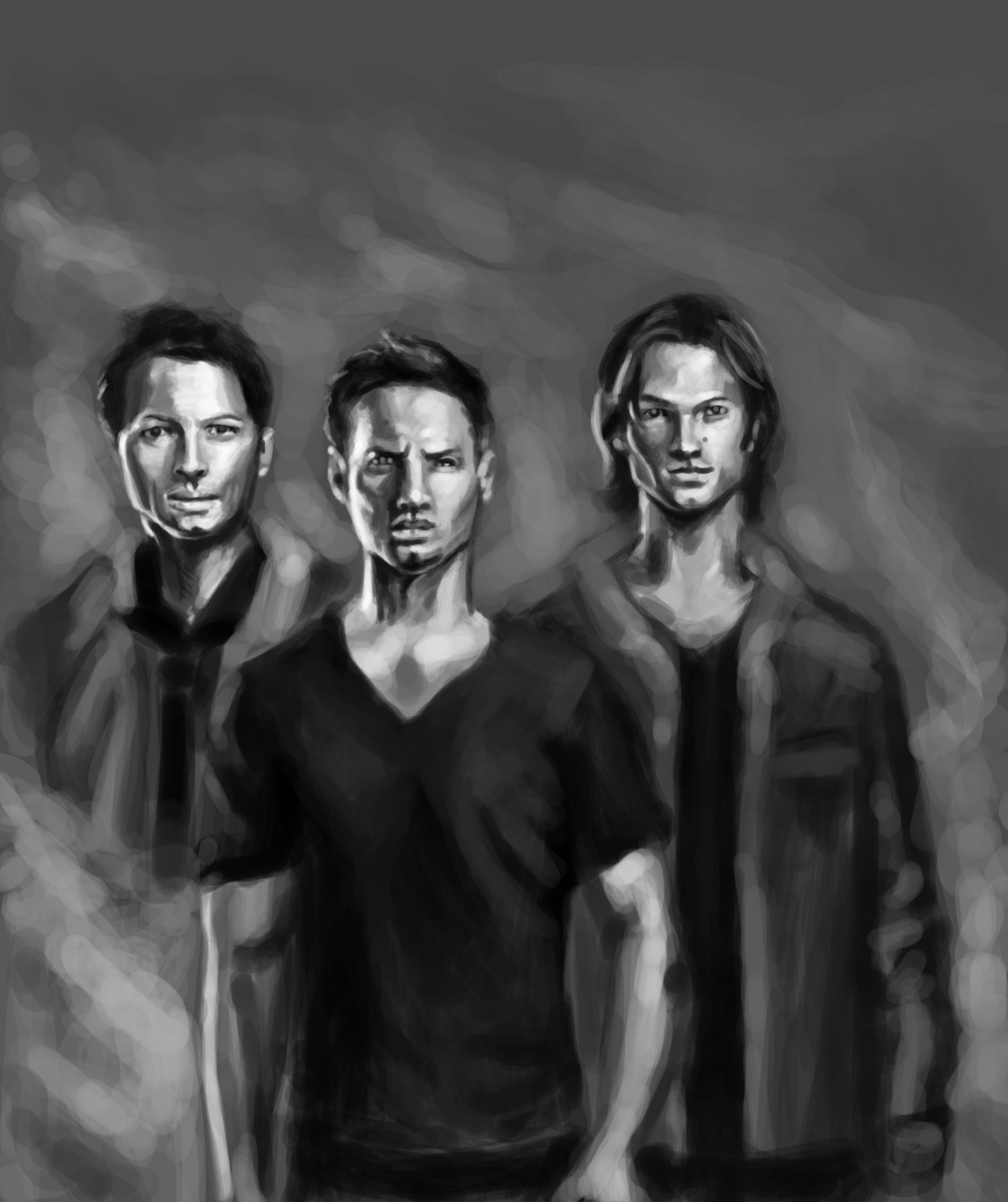 Sam and Dean Winchester, Castiel, Supernatural, art