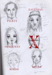 JCSS, sketches, renderings, make up sketches, jesus christ superstar, pilate, caiaphas, priestest, annas, herod