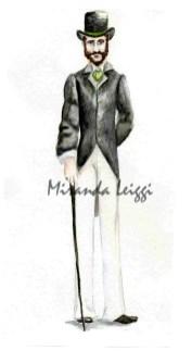 costume rendering, period study, john singer sargent, top hat, can, watercolor