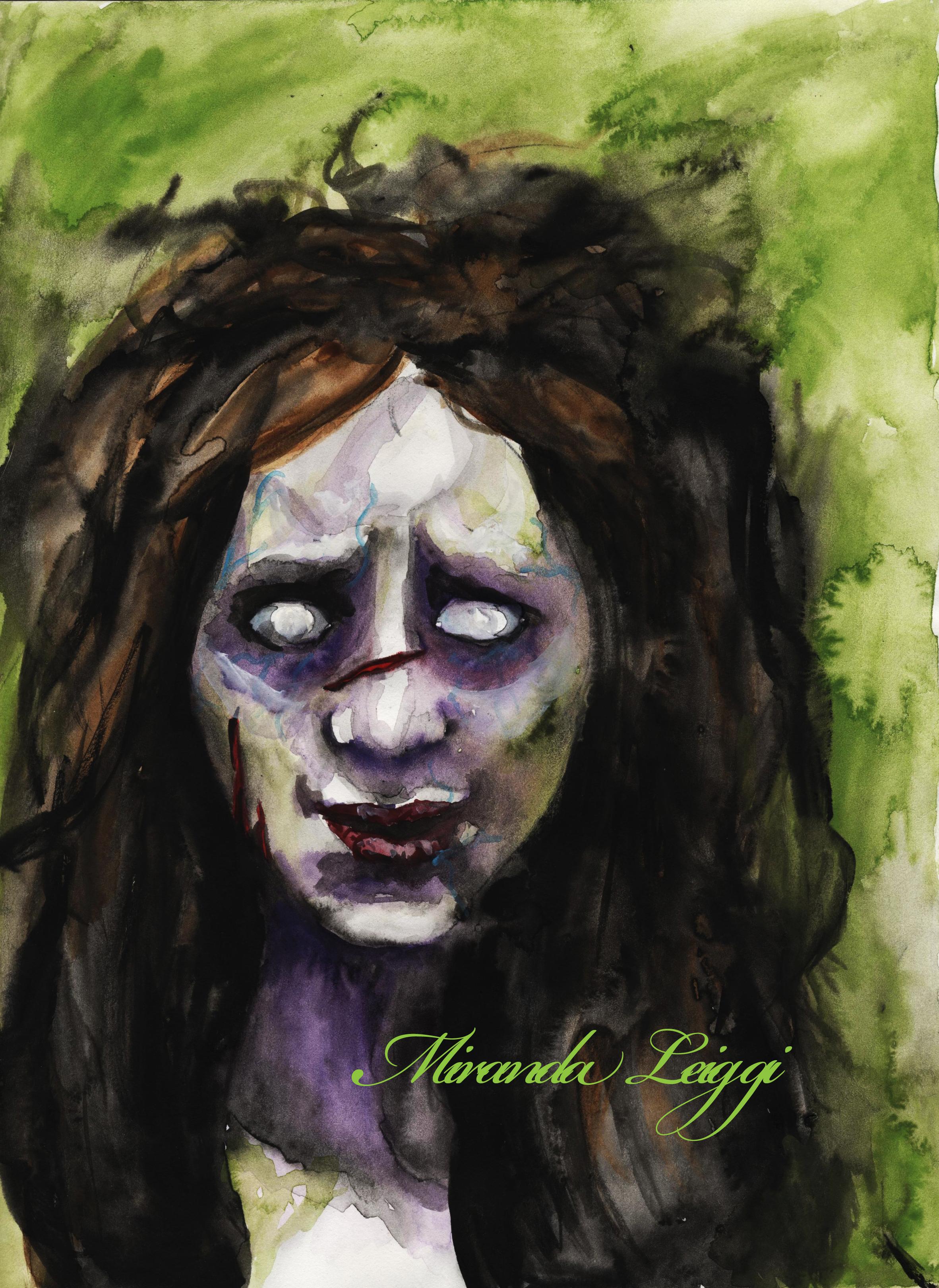 watercolor, painting, makeup rendering, zombie, horror, dark art