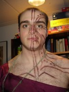 Caliban, the tempest, Shakespeare, tribal tattoos, Maori tattoos, war paint, theatrical makeup