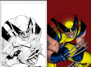 marvel, logan, james howlett, colors, coloring, color, colorist, black and white, side by side