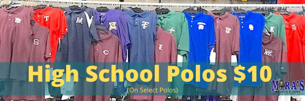 high school polos at Mira's