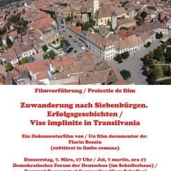 """Casa Schuller: Proiectia filmului """"Zuwanderung nach Siebenbürgen. Erfolgsgeschichten"""""""