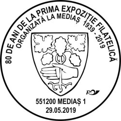 Stampila speciala dedicata unei aniversari filatelice mediesene