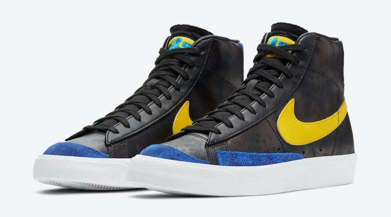 Pánské černé tenisky Nike Blazer Mid White Black Blue Yellow DC1414-001 kožené a vysoké kotníkové boty a obuv Nike