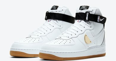 Pánské bílé tenisky Nike Air Force 1 High NBA Pack White Black Grey Gold CT2306-100 kožené a vysoké kotníkové boty a obuv Nike