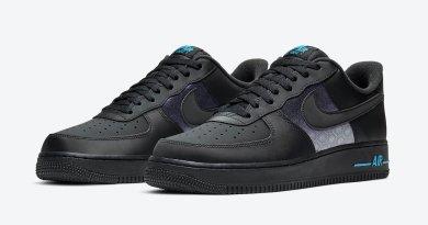 Pánské černé tenisky Nike Air Force 1 Low Black Grey Laser Blue DH2475-001 kožené nízké boty a obuv Nike AF1