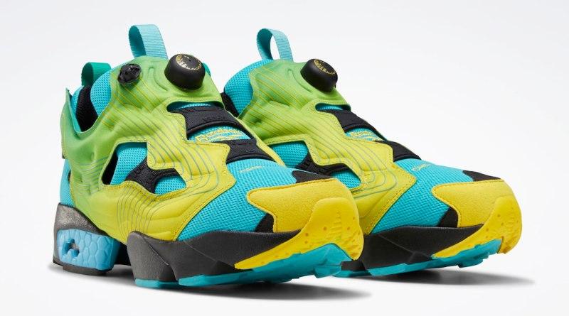 Pánské modré tenisky a boty Chromat x Reebok Instapump Fury Emerald/Alert Yellow-Glacier Blue FY0825 nízké botasky a obuv Reebok