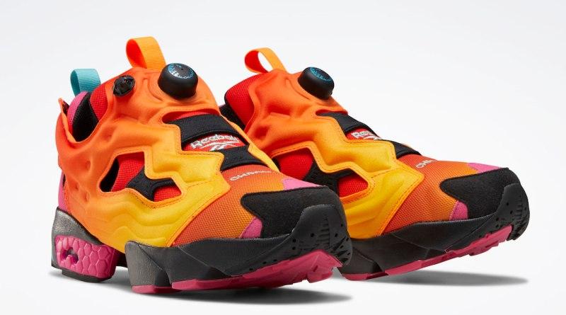 Pánské oranžové tenisky a boty Chromat x Reebok Instapump Fury Solar Orange/Alert Yellow-Black FZ3432 nízké botasky a obuv Reebok