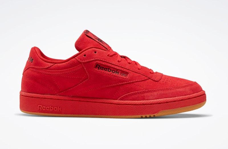 Pánské červené tenisky a boty Reebok Club C 85 Red Suede Vector Red/Black FW6629 semišové nízké botasky a obuv Reebok