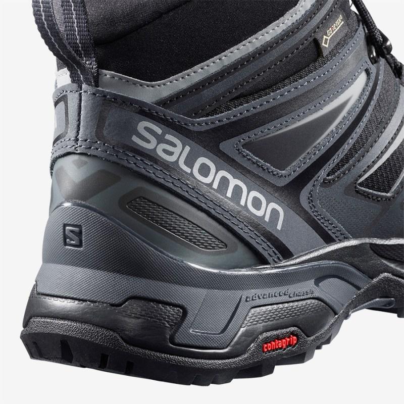 Pánské černé tenisky Salomon X Ultra 3 Mid GTX Black/India Ink/Monument 398674 kotníkové turistické boty a obuv Salomon
