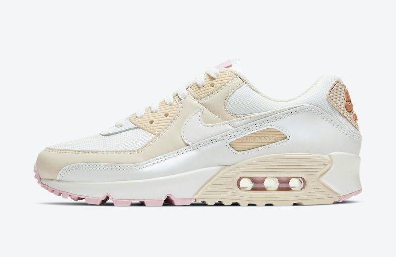 Dámské bílé krémové tenisky a boty Nike Air Max 90 Summit White/Metallic Red Bronze-Light Orewood Brown CT1873-100 nízké botasky a obuv