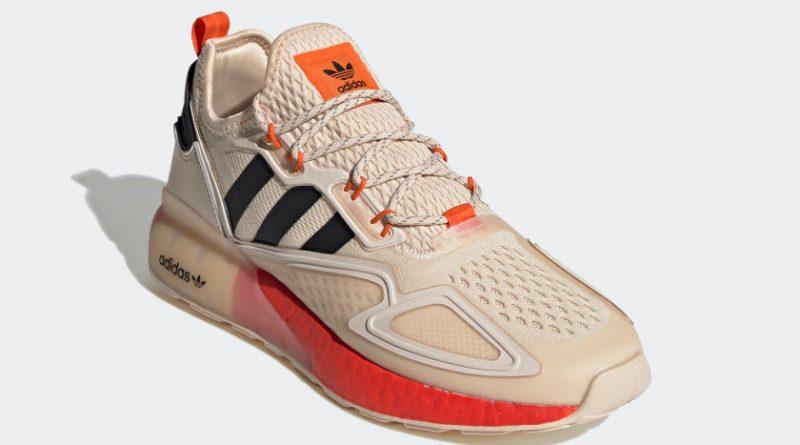 Pánské krémové tenisky a boty adidas ZX 2K Boost Linen/Core Black/Orange FY2001 běžecké botasky a obuv adidas