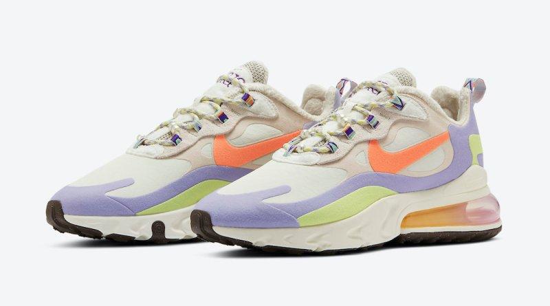 Pánské bílé tenisky a boty Nike Air Max 270 React White/Beige/Orange/Purple-Yellow DC3276-101 sportovní botasky a obuv Nike