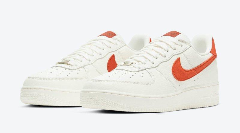 Pánské bílé tenisky a botasky Nike Air Force 1 07 Craft Sail/Mantra Orange-Forest CV1755-100 nízké kožené boty a obuv Nike AF1