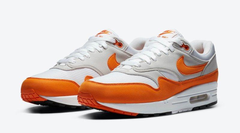 Pánské bílé oranžové tenisky a botasky Nike Air Max 1 White/Magma Orange-Neutral Grey-Black DC1454-101 nízké sportovní boty a obuv Nike