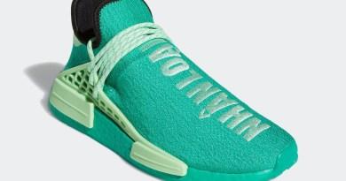 Pánské zelené tenisky a boty Pharrell x adidas NMD Hu Green/Black/White/Green GY0089 nízké sportovní botasky a obuv adidas