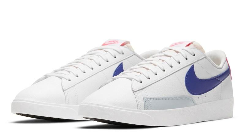 Pánské bílé tenisky a boty Nike Blazer Low White/Hyper Pink-Concord-Pure Platinum DC9211-100 sportovní kožené botasky a obuv Nike