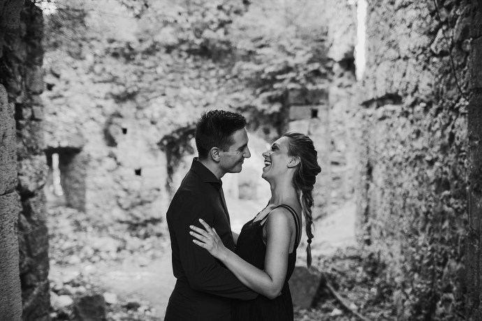 samobor old town engagement session mirela bauer photography smile in black and white