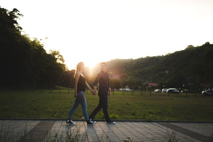 samobor old town engagement session mirela bauer photography walking down