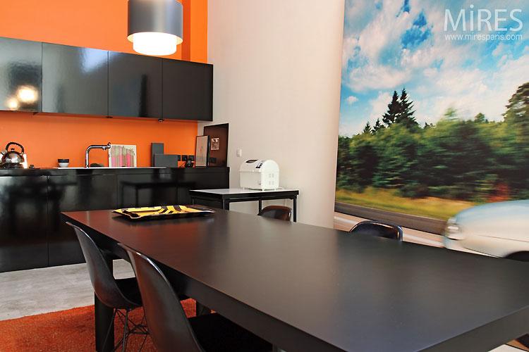 Cuisine Moderne Orange Et Noire C0543 Mires Paris