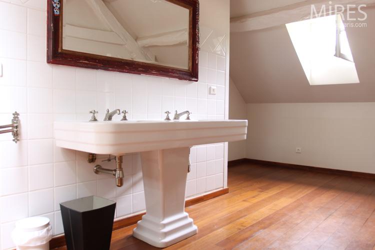 Lavabo Colonne Double Vasque Art Dco Blanc Bois C0613