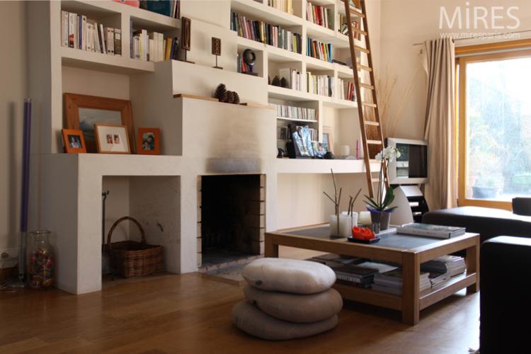 Salon Bibliothque Haut De Plafond C0699 Mires Paris