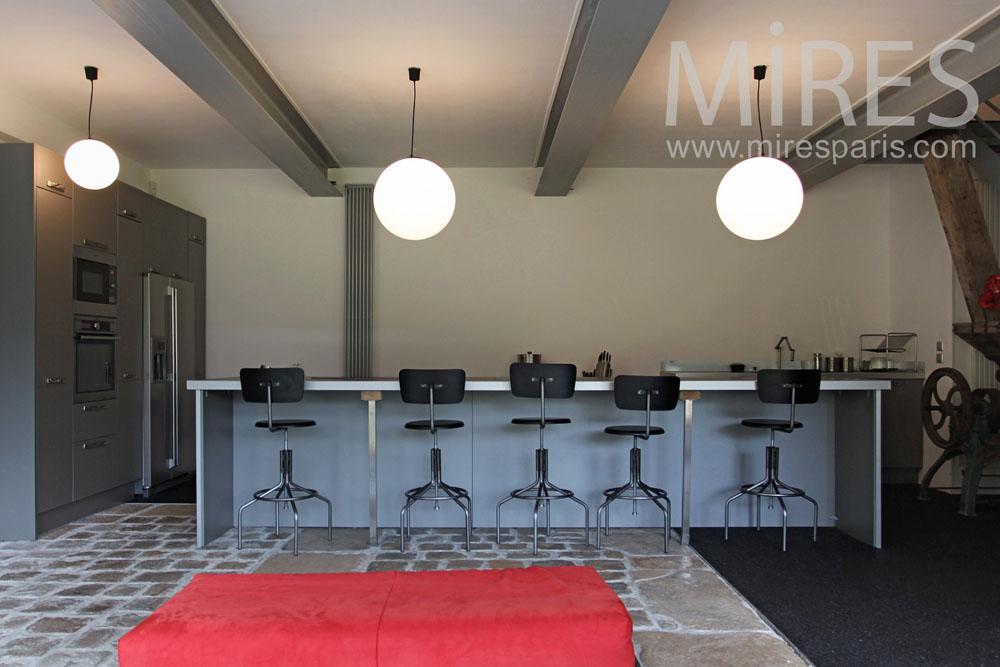 Cuisine Bar Design Avec Vielle Pierre C0787 Mires Paris