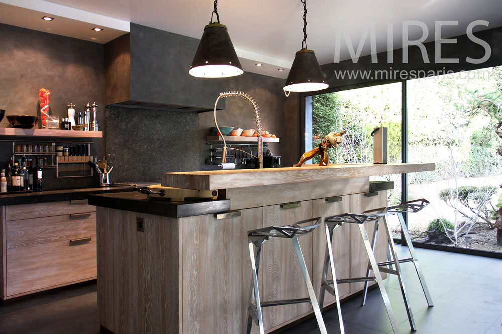 cuisine moderne ambiance bois c0826