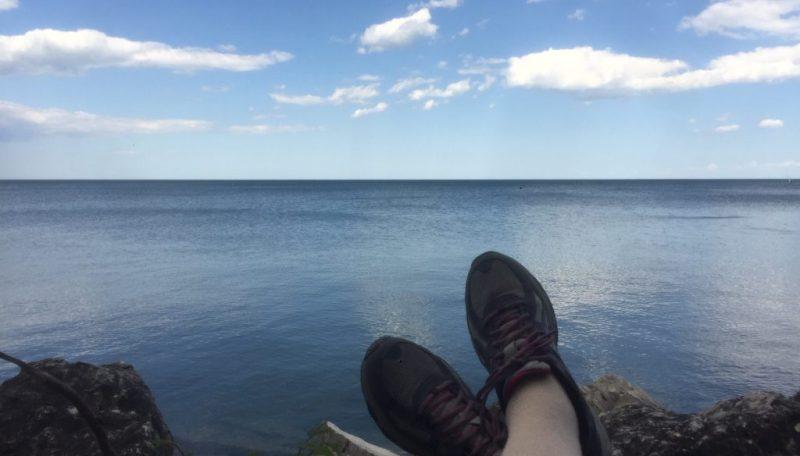horizontal lake with feet