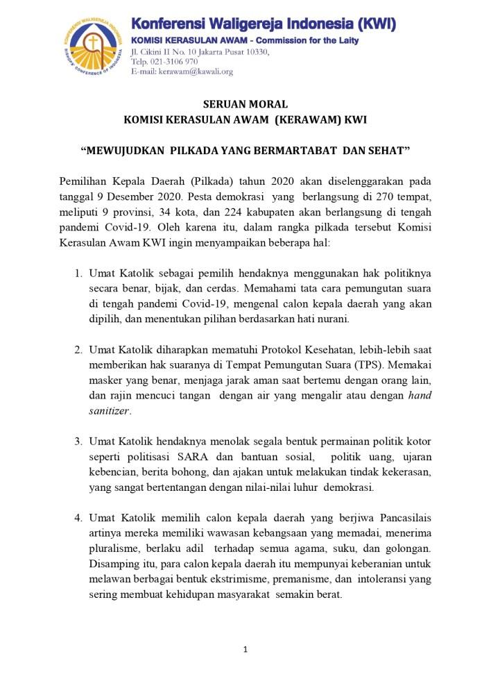 Kerawam KWI, katekese, katolik, Komsos KWI, Konferensi Waligereja Indonesia, KWI, gereja katolik, gereja Katolik Indonesia, Pilkada, pilkada Pandemi, PILKADA 2020, Seruan Moral