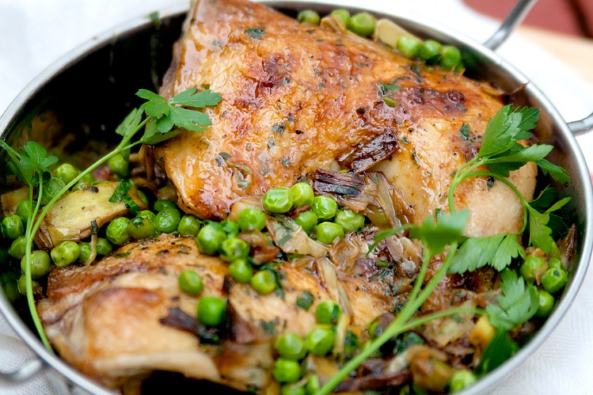 Vinegar-Braised Chicken with Leeks and Peas