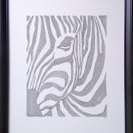 calligram, words, letters, framed, ink, black, passepartout, zebra