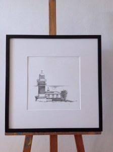 lighthouse, ocean, house, spain, frame, black, letters, writing, ink, paper, white, passepartout, easel, walldecoration, fine-art