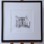 church, houses, frame, black, letters, writing, ink, paper, white, passepartout, easel, walldecoration, fine-art