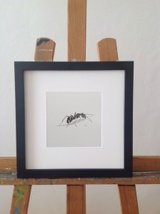 ant, insect, words, calligram, frame, black, paper, white, passepartout, easel, walldecoration