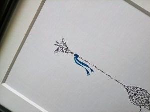Calligram detail giraffe blue scarf