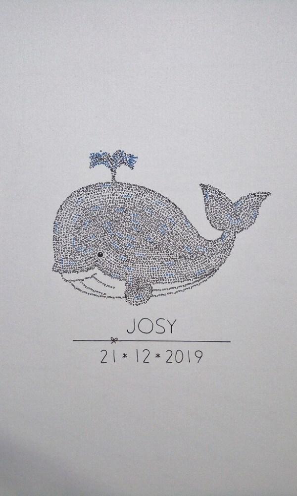Unframed whale calligram