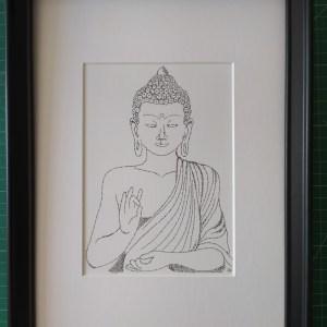 Framed Calligram Buddha