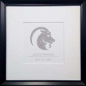zodiac, handmade and personalized calligram