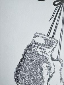 detail calligram boxing gloves