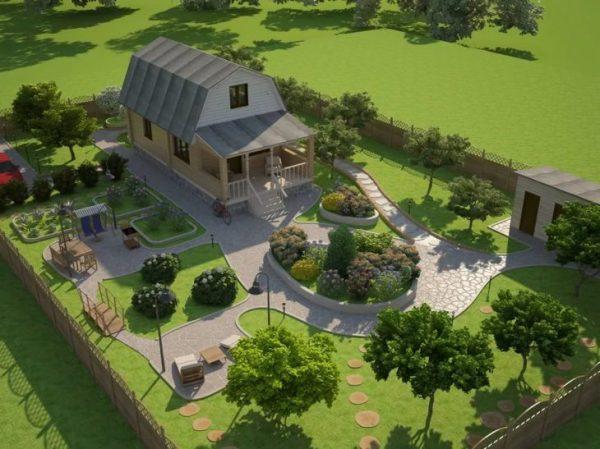Ландшафтный дизайн загородного дома 6 соток - 55 фото ...